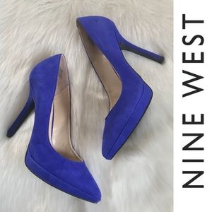 NINE WEST Love Fury Blue Suede Heels